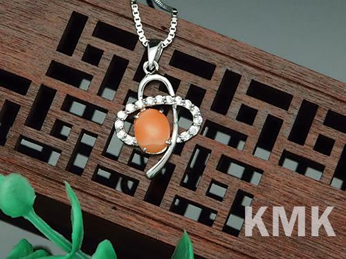 【KMK天然寶石】恆星(純天然深海紅/粉珊瑚-項鍊)