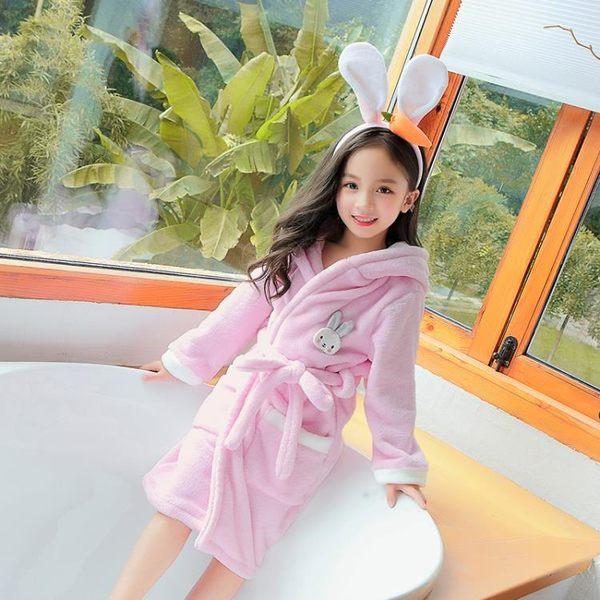 兒童睡袍女公主法蘭絨男孩女孩秋冬季加厚珊瑚絨男童女童可愛浴袍