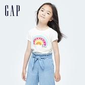 Gap女童 可愛純棉印花短袖T恤 697506-白色