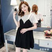 孕婦連衣裙夏裝時尚2019新款短袖T恤吊帶寬鬆裙子套裝 QW2743『夢幻家居』