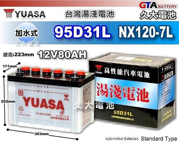 ✚久大電池❚ YUASA 湯淺 95D31L 加水 汽車電瓶 ML320休旅車(美規) 96`前 L400