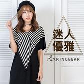 性感洋裝--性感優雅浪漫舒適大方落肩條紋拼接前後V領長洋裝(黑L-3L)-D433眼圈熊中大尺碼