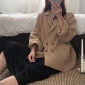 針織衫秋裝韓版寬鬆百搭中長款雙排扣毛衣開衫復古顯瘦針織外套上衣      都市時尚