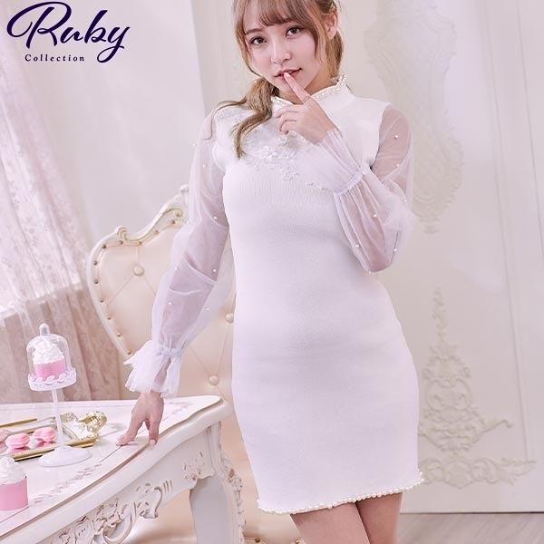 洋裝 中國風珍珠滾邊網紗長袖洋裝-Ruby s 露比午茶