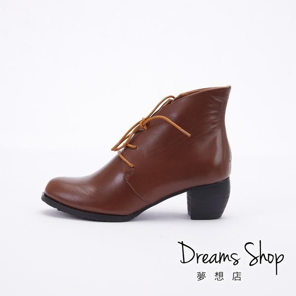 大尺碼女鞋-夢想店-MIT台灣製造全真皮側拉鍊綁帶中跟踝靴5cm(41-47)【JD3033】棕色