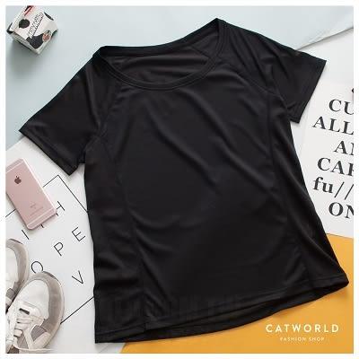 Catworld 拼接網眼圓領透氣快乾運動T【11406582】‧S/M/L/XL