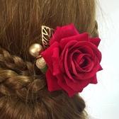 紅色新娘頭花玫瑰金葉子花朵發夾旗袍禮服舞臺配飾結婚頭飾婆婆花 BASIC HOME