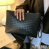 韓版男士時尚手包編織男女信封包手拿包手抓包A4文件包ipad包斜跨 名購新品