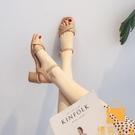 涼鞋女夏季中跟粗跟時裝仙女風一字帶網美高跟鞋【慢客生活】