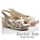 ★零碼出清★Keeley Ann春意盎然~印花時尚寬版交叉拼接真皮楔形涼鞋(米色)
