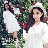 孕婦裝 MIMI別走【P52528】清新質感 拼接蕾絲連身裙 孕婦洋裝 孕婦裙