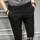 夏季薄款休閒褲韓版修身西裝褲男士西褲潮流發型師小腳彈力長褲子