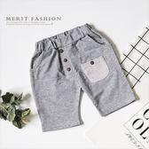 條紋口袋鈕扣 舒適棉質短褲百搭好穿休閒淺灰短褲舒適男童棉質彈性哎北比