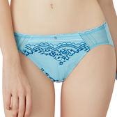 思薇爾-啵時尚花心思系列M-XXL蕾絲中低腰三角內褲(礦水藍)