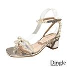Dingle丁果ღ時尚珍珠蝴蝶結造型粗跟高跟鞋(二色34-41)