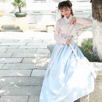 降價兩天 2020新款日常漢服女繡花交領齊腰襦裙古裝拼色高束腰綁帶連身裙