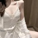 真絲睡衣女春秋性感睡袍套裝桑蠶絲薄款吊帶睡裙夏季冰絲兩件套秋【快速出貨】