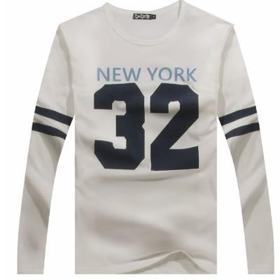 ManStyle潮流嚴選球衣字母數字條紋雙色圓領長袖T恤【R1B6634】