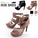 [Here Shoes]後跟高10cm 絨面/皮革細帶纏繞羅馬高跟鞋 圓頭細跟後拉鍊涼拖鞋MIT台灣製-KT865