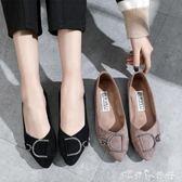 平底單鞋女春季女鞋韓版尖頭淺口瓢鞋水鉆軟底老北京布鞋 潔思米