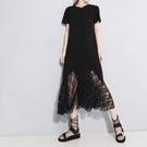 短袖洋裝-鏤空蕾絲拼接純色女連身裙2色73yh26【巴黎精品】