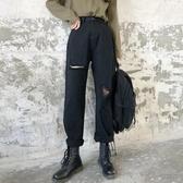 破洞牛仔寬褲女 大尺碼春夏bf寬鬆闊腿百搭大碼胖mm九分直筒乞丐褲子潮