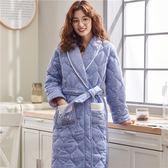 冬季長袖加厚晨袍純棉夾棉女士棉襖全棉長款睡袍浴袍加大碼家居服