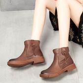 牛皮短靴 簡約粗跟 休閒 真皮女靴 馬丁靴 圓頭皮靴/2色-夢想家-標準碼- 0813