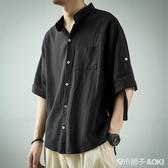 亞麻襯衫男短袖夏季薄款寬鬆韓版潮流帥氣休閑百搭七分袖棉麻上衣 青木鋪子