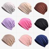 頭巾帽冰爽透氣薄包頭帽全棉化療睡帽 素色月子頭巾帽男女夏季不過敏帽 喵小姐