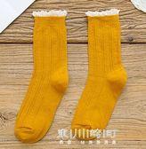 襪子女秋冬中筒堆堆襪女韓國學院風日繫蕾絲花邊森繫長襪中腰中襪   東川崎町