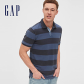 Gap男裝棉質條紋設計短袖POLO衫532548-橄欖色藍色條紋