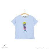 【INI】可愛俏皮、小女孩背影圓領棉T上衣.水藍色