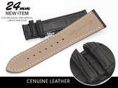 【完全計時】手錶館│Panerai 沛納海代用 進口高級真鱷魚錶帶 24mm限量 質感黑 黑車線