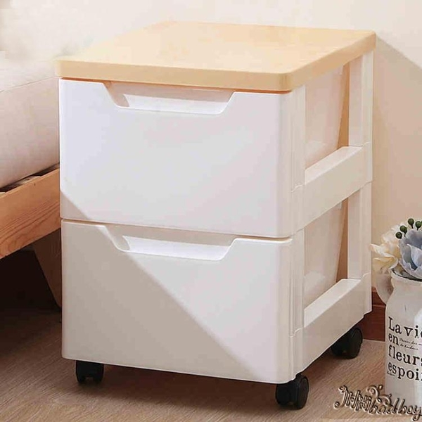 塑料床頭櫃 簡約經濟型簡易臥室清倉組裝拼裝置物櫃 抽屜式收納櫃wl10868[bad boy時尚]
