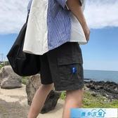 工裝短褲男士夏季5分運動褲港風chic潮牌休閒褲寬鬆五分褲潮流ins 漫步雲端
