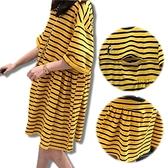 BabyShare時尚孕婦裝【J17166】現貨 韓版刺繡蜂鳥抓皺娃娃哺乳裙 哺乳衣 加大尺碼 孕婦外出服