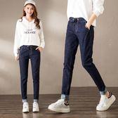2018春季新款牛仔褲女藍色彈力松緊腰哈倫褲寬松韓版顯瘦小腳長褲