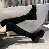 高筒靴女春秋網紅顯瘦厚底增高彈力長筒過膝靴女ins網紅瘦瘦靴潮   蘑菇街小屋