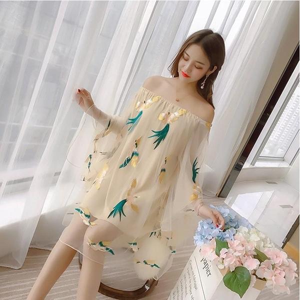 一字肩洋裝女新款洋氣甜美超仙顯瘦氣質性感仙女裙 琪朵市集