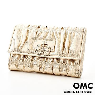 OMC - 可愛貴婦蝴蝶結抓皺牛皮中夾 - 氣質香檳金
