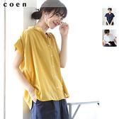 涼感衣 細褶襯衫 聚酯纖維 現貨 免運費 日本品牌【coen】