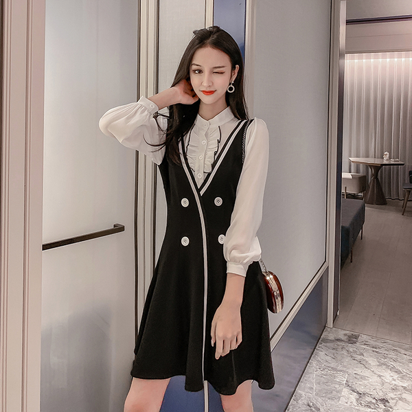 VK旗艦店 韓國風時尚拼接修身氣質長袖洋裝