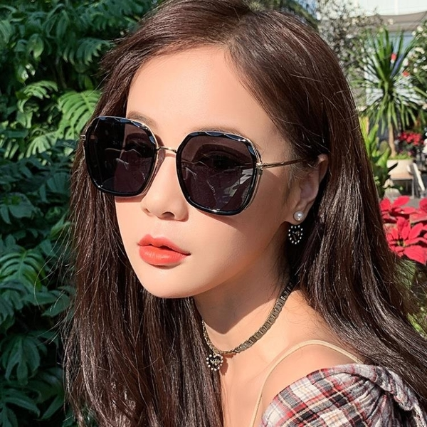 ins墨鏡女偏光太陽眼鏡GM韓版潮圓臉防紫外線大臉顯瘦【快速出貨】