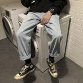 美麗的臟店韓版百搭淺藍色水洗牛仔褲潮男港風寬鬆直筒牛仔褲潮褲 嬌糖小屋