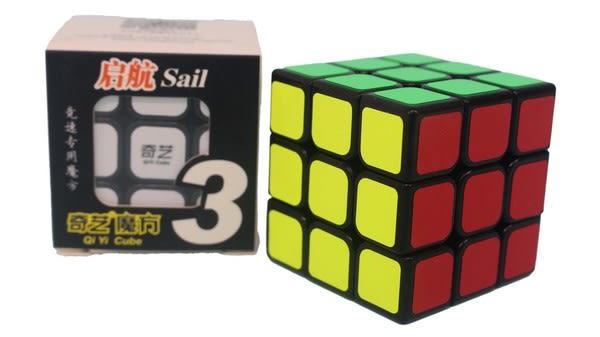 魔方格 啟航三階魔術方塊 0932A-5(黑底-盒入)/一個入(定100) 5.7cm 比賽專用 奇藝三階魔方 3x3x3-鑫
