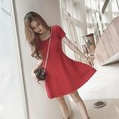 洋裝-短袖秋季紅色針織修身女連身裙73pu71【巴黎精品】