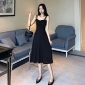 吊帶洋裝 2020新款夏季性感露肩吊帶裙女裝時尚氣質長款連衣裙黑色顯瘦長裙【萬聖夜來臨】