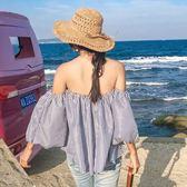 現貨-春夏手工編織鉤針草帽女鏤空可折疊大沿帽度假沙灘帽海邊遮陽帽子