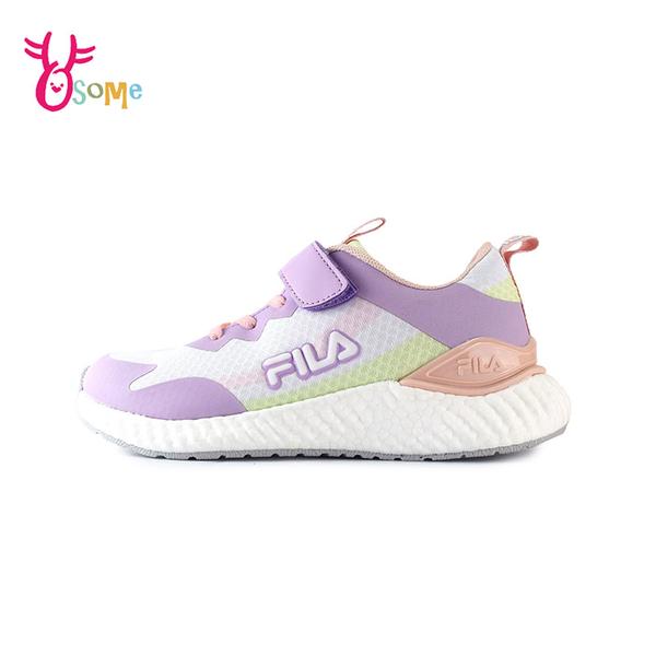 FILA童鞋 女童運動鞋 輕量慢跑鞋 運動鞋 跑步鞋 魔鬼氈運動鞋 大童 康特杯 R7666#紫色◆奧森